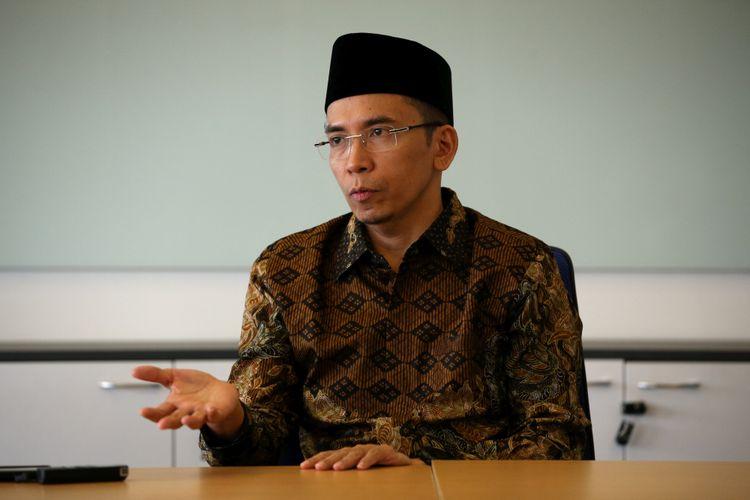 Gubernur Nusa Tenggara Barat, Tuan Guru Bajang (TGB) Zainul Majdi saat mengunjungi Kantor Redaksi Kompas.com di Menara Kompas, Jakarta, Kamis (12/7/2018).