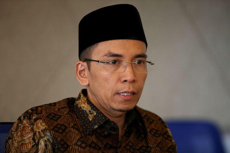 Gubernur Nusa Tenggara Barat Zainul Majdi atau Tuan Guru Bajang (TGB) saat mengunjungi Kantor Redaksi Kompas.com di Menara Kompas, Jakarta, Kamis (12/7/2018).
