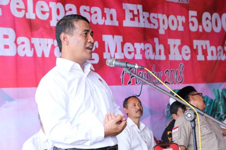 Menteri Pertanian Andi Amran Sulaiman berpidato saat acara pelepasan ekspor 5.600 ton bawang merah ke Thailand di Klompak, Wanasari, Brebes Jawa Tengah, Rabu (1/8/2018).