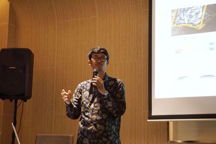 Farid Naufal Alam CEO e-commerce aruna.id yang tampil saat acara Curah Pendapat Implementasi Revolusi Mental yang diselenggarakan Kementerian Koordinator Pembangunan Manusia dan Kebudayaan (Kemenko PMK), di Hotel Grand Mercure, Jakarta, Jumat (3/8/2018).