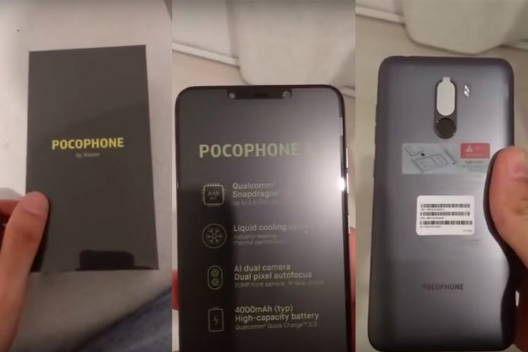 Xiaomi Pocophone F1 dalam bocoran video unboxing dan hands-on lansiran Slashleaks.