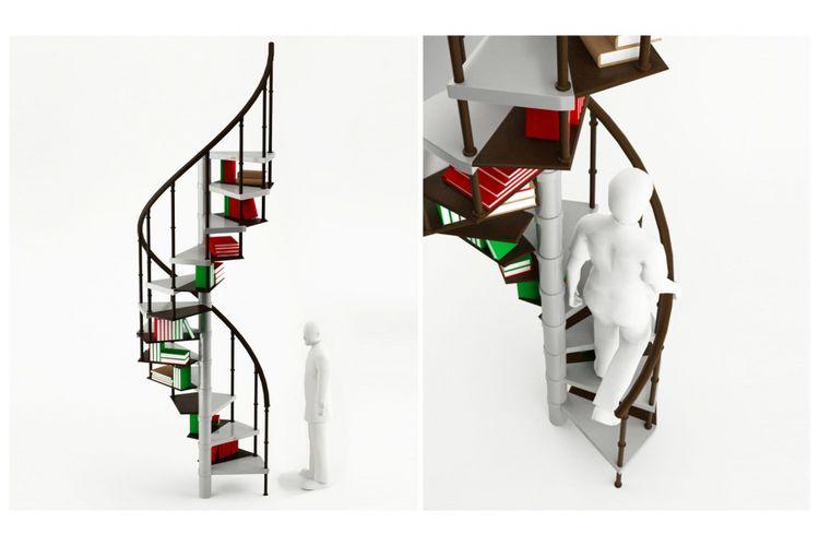 Sebastian Errazuriz mengembangkan ide tangga spiral yang bisa dijadikan penyimpanan buku