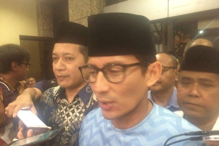 Bakal calon wakil presiden Sandiaga Salahuddin Uno di Kantor PBNU, Jakarta, Kamis (16/8/2018).