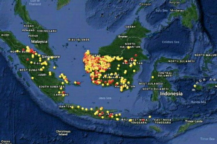 Sebaran titik panas yang terpantau dari Satelit Modis, Kamis (16/8/2018).