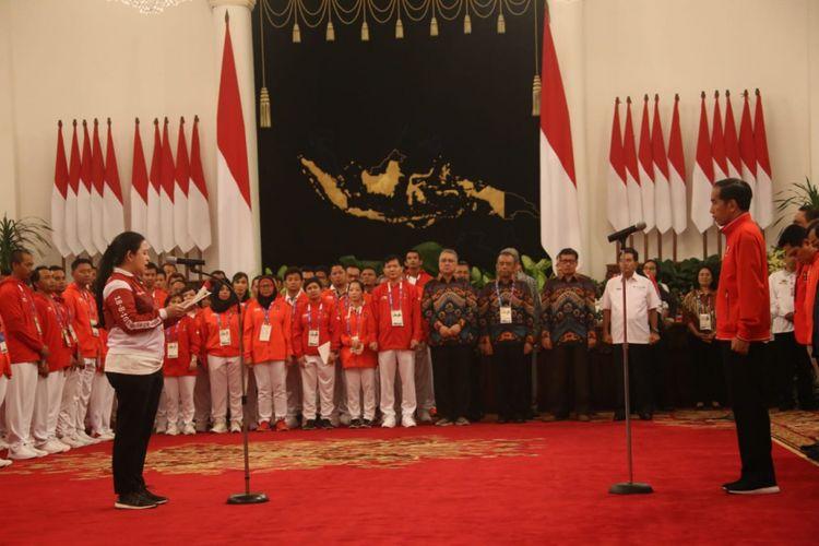 Menko PMK Puan Maharani saat pertemuan Presiden Jokowi dengan atlet peraih medali Asian Games 2018 di Istana Negara, Minggu (02/9/2018) pagi.