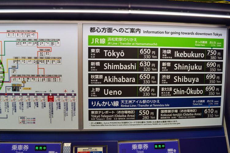 Cara Membeli Tiket Tokyo Monorail