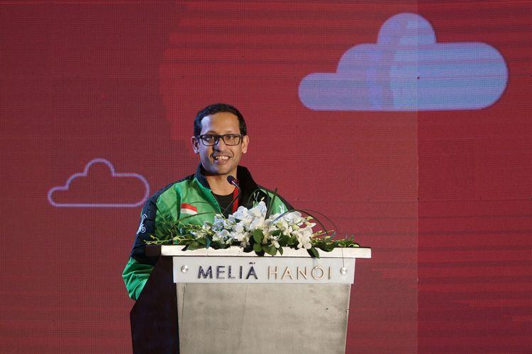 CEO Go-Jek Nadiem Makarim dalam acara peresmian ekspansi  Go-Jek ke Hanoi, ibukota Vietnam, lewat brand Go-Viet pada Rabu (12/9/2018).