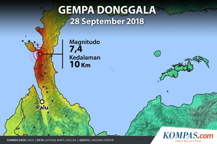 Lokasi rentetan gempa di Sulawesi Tengah, Jumat (28/9/2018).