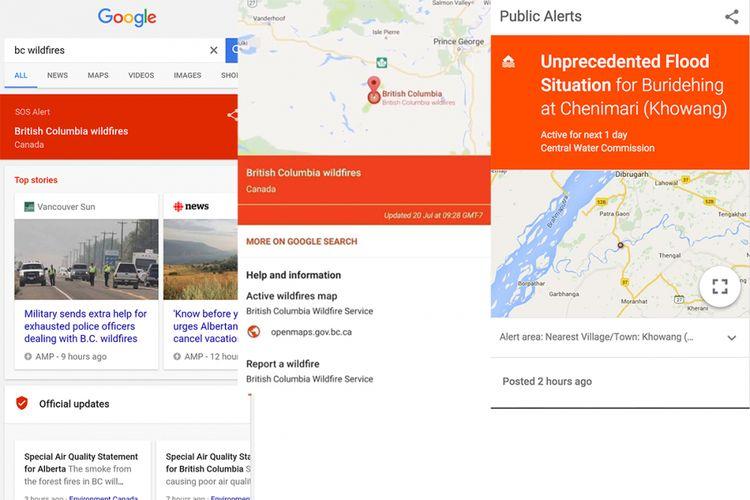 Google SOS Alerts berupa banner berisi aneka informasi yang diharapkan berguna bagi korban bencana. Kemunculannya otomatis di produk-produk Google di perangkat pengguna yang berada di daerah bencana.