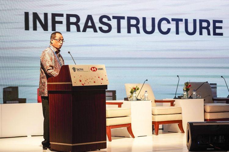 Menteri Perhubungan Budi Karya Sumadi menjadi pembicara dalam BKPM - HSBC Infrastructure Forum pada rangkaian Pertemuan Tahunan IMF - World Bank Group 2018 di Nusa Dua, Bali, Kamis (11/10). ANTARA FOTO/ICom/AM IMF-WBG/Jefri Tarigan/wsj/2018.