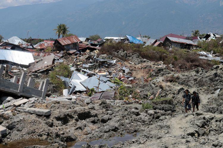Kondisi Kelurahan Petobo, Palu, Sulawesi Tengah, beberapa hari setelah peristiwa likuefaksi akibat gempa bumi bermagnitudo 7,4 pada 28 September 2018.