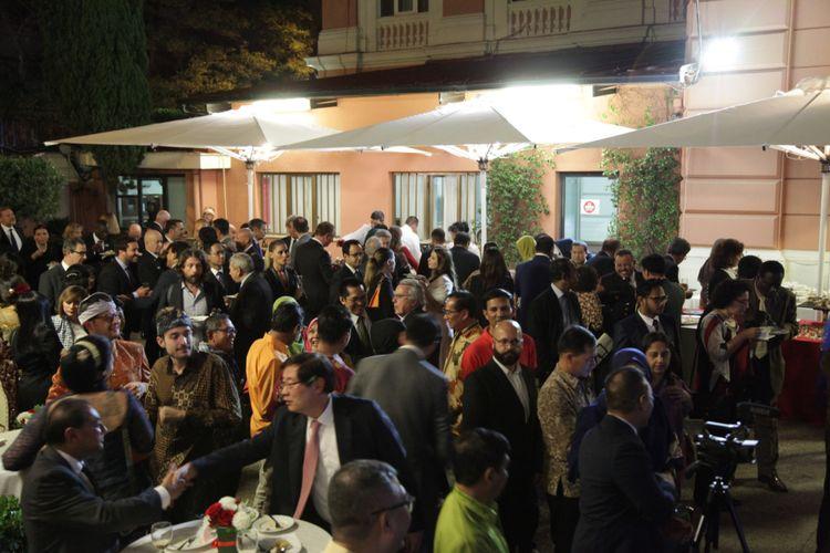 Suasana resepsi diplomatik HUT 73 RI di KBRI Roma, Italia, Selasa malam (23/10/2018) waktu setempat.