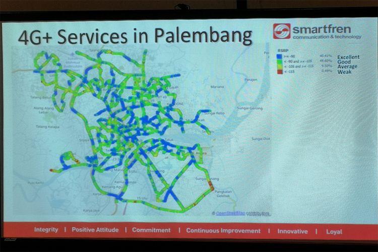 Peta layanana 4G Plus Smartfren di Palembang. Beberapa area masih mengalami lemah sinyal, ditandai dengan warna kuning dan merah. Cakupan 4G Plus Smartfren di Palembang kini baru 70 persen dari keseluruhan jaringan 4G. Pada akhir 2018, cakupan 4G Plus ditargetkan sudah mencapai 100 perse.