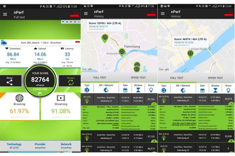 Screenshot sebagian hasil uji nPerf yang dilakukan KompasTekno terhadap jaringan 4G Plus Smarfren di Palembang. Puncak kecepatan diperoleh di dekat Gerai Smartfren di area Jakabaring. Di luar itu, kecepatannya lebih rendah. Kadang jaringan 4G Plus masih turun ke 4G.