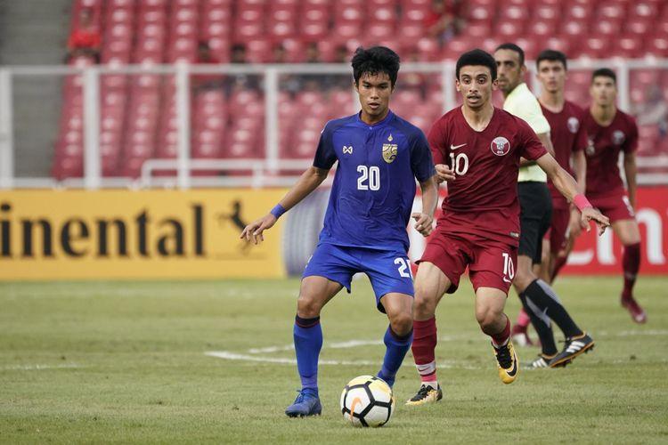 Laga Qatar vs Thailand menjadi partai pembuka perempat final Piala Asia U-19 2018 di Stadion Utama Gelora Bung Karno, 28 Oktober 2018.