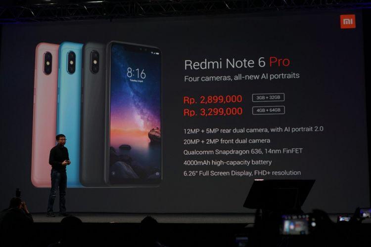 Steven Shi, Country Manager Xiaomi Indonesia di peluncuran Redmi Note 6 Pro di Jakarta, Selasa (6/11/2018).