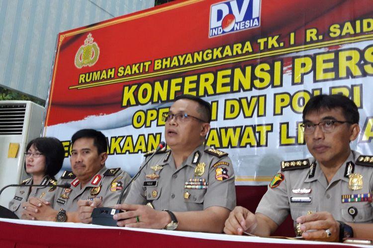 Konferensi pers operasional DVI Polri, pesawat Lion Air JT 610, Kamis (8/11/2018)