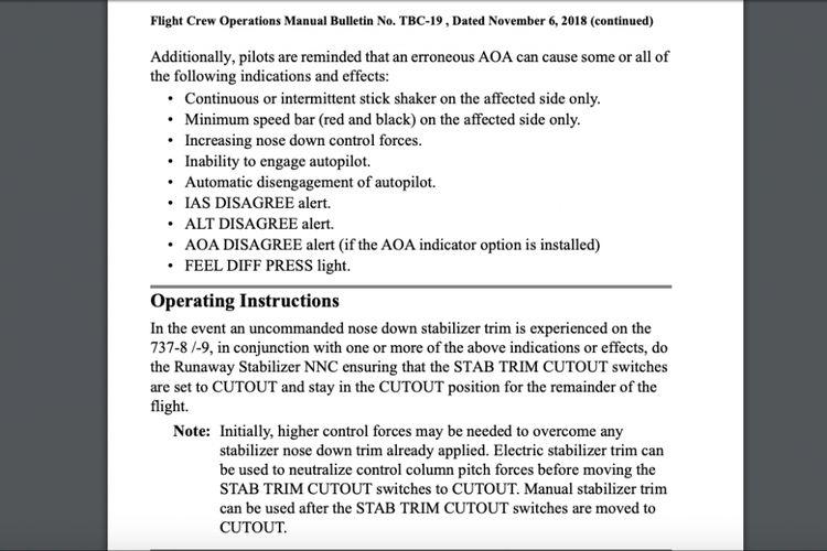 Instruksi operasional Boeing jika mengalami peristiwa Runaway Stabilizer saat terbang dengan 737 MAX.