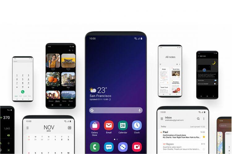 Ilustrasi tampilan antarmuka Samsung One UI