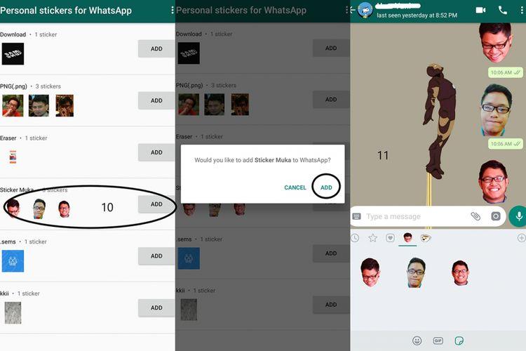 Aplikasi Personal Stickers for WhatsApp dan stiker wajah sendiri yang sudah berhasil ditambahkan dan bisa dipakai dalam chatting.