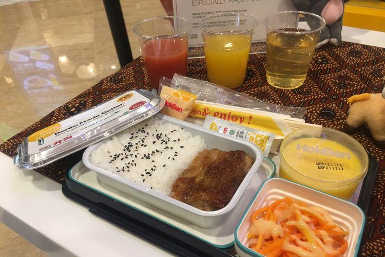 Chicken Steak, salah satu menu makanan baru dalam penerbangan Garuda Indonesia kolaborasi dengan Hokben, Kamis (29/11/2018).