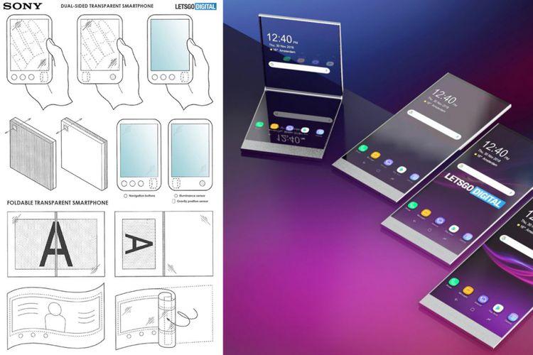 Gambar ilustrasi perangkat dalam paten Sony dan render digital hasil interpretasinya dari LetsGoDigital.