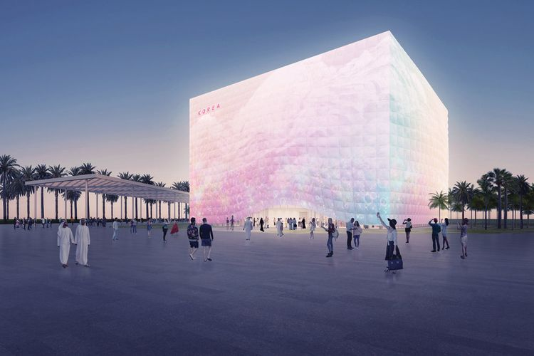 Fasad pavilion rancangan Nooyon, nantinya dapat dikendalikan melalui aplikasi ponsel pintar