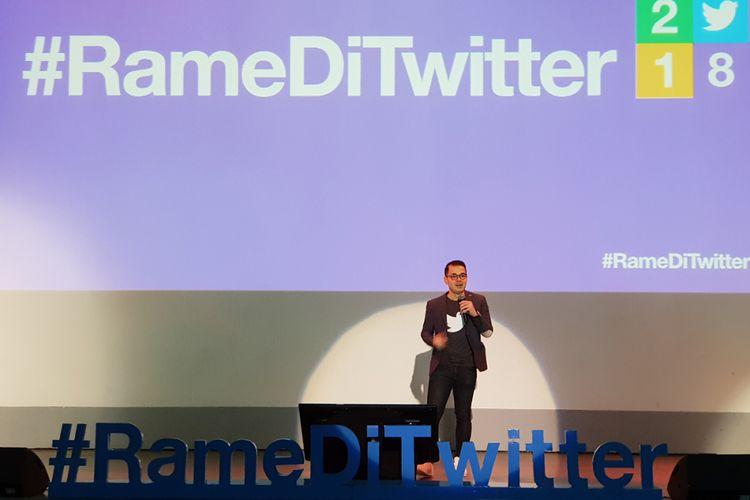Country Head Twitter Indonesia dan Malaysia, Dwi Adriansyah, saat berbicara dalam acara Rame di Twitter di Jakarta, Rabu (5/12/2018)