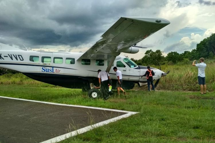 Kondisi pesawat Susi Air yang tergelincir, Sabtu (8/12/2018)