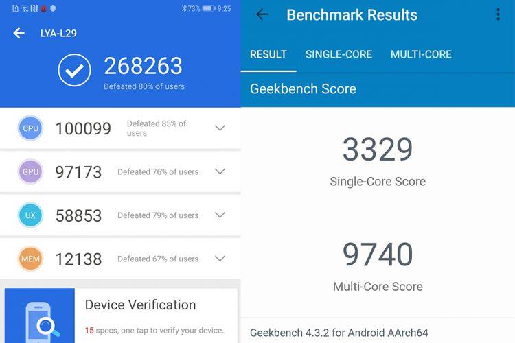Skor benchmark AnTuTu (kiri) dan Geekbench untuk Huawei Mate 20 Pro.
