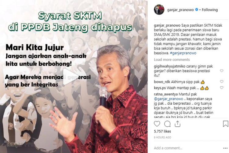 Melalui akun Instagram resminya, Gubenur Jawa Tengah Ganjar Pranowo menghapus syarat SKTM dalam PPDB 2019 Jawa Tengah.