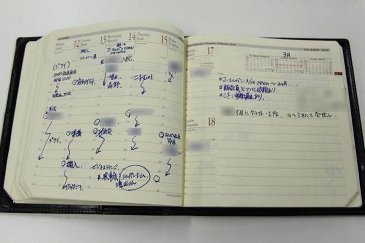 "Buku agenda dengan format vertikal yang digunakan oleh seorang laki-laki dari bagian sales. Jadwal harian ditulis sepanjang sumbu waktu. Bentuk buku agenda berupa ""executive note"" persegi yang melambangkan Quo Vadis."