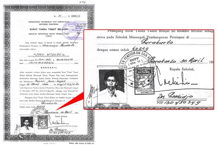 Salinan ijazah SMA milik Joko Widodo yang diunggah di laman web Komisi Pemilihan Umum