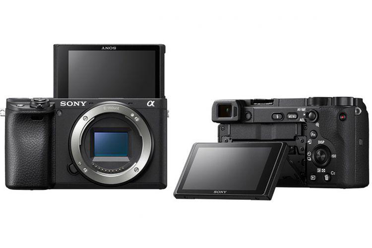 Kamera mirrorless Sony a6400 dengan layar selfie.