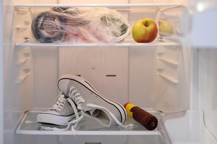 Ilustrasi sepatu dalam lemari es