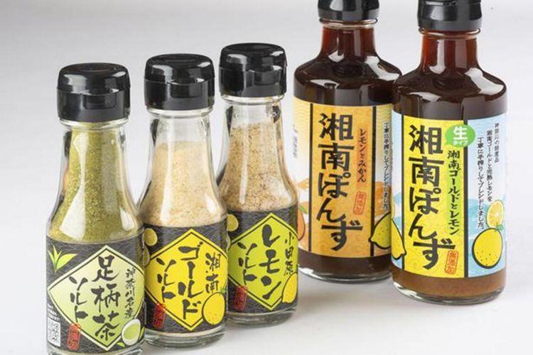 """Produk """"Shonan Ponzu Shonan Gold and Lemon"""", """"Shonan Gold Salt"""", """"Odawara Lemon Salt"""", """"Ashigara Tea Salt"""""""
