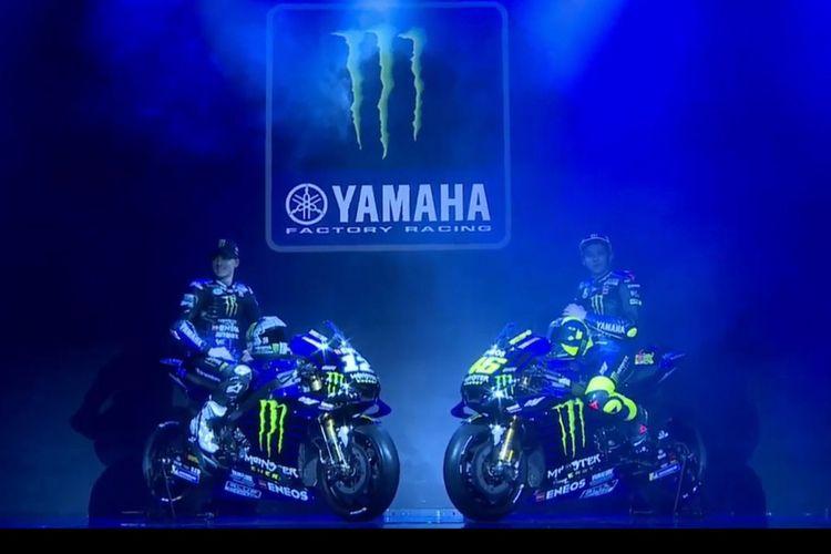 Peluncuran motor balap baru tim pabrikan Yamaha untuk MotoGP 2019 di Jakarta, Senin (4/2/2019). Menggandeng sponsor baru, mulai musim 2019 Yamaha akan menggunakan nama resmi Monster Energy Yamaha MotoGP Team.