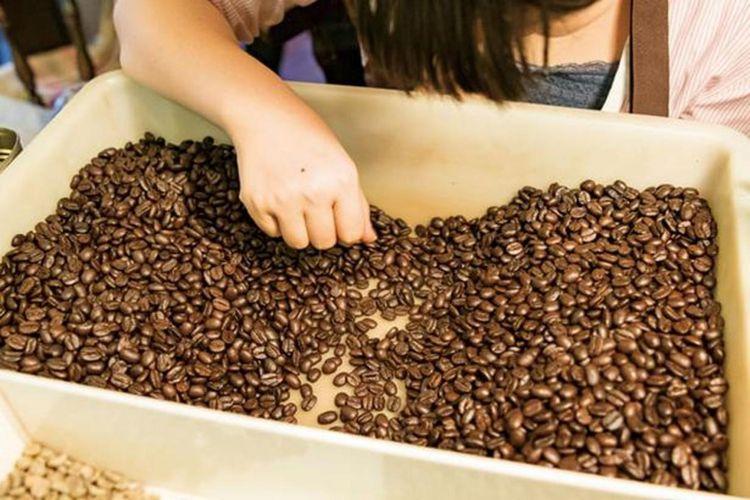 Di sudut kedai selalu dilakukan pemilihan biji kopi
