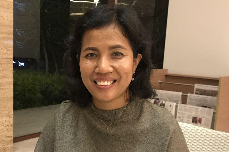 Hotlin Omposunggu saat diwawncara di lobi Hotel Mercure, Padang, Sumatera Barat, Senin (11/2/2019) malam.