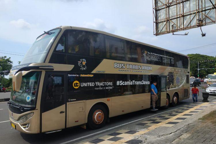 Bus trans Jawa berjenis double decker yang dioperasikan oleh PO Putera Mulya Sejahtera resmi mengaspal per Kamis (14/2/2019)