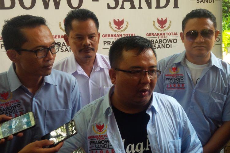 Ketua Presidium Relawan Jagad Agus Yusuf Ahmadi dalam deklarasi dukungan Prabowo-Sandiaga di Hotel Lorin Solo, Jawa Tengah, Sabtu (23/2/2019).