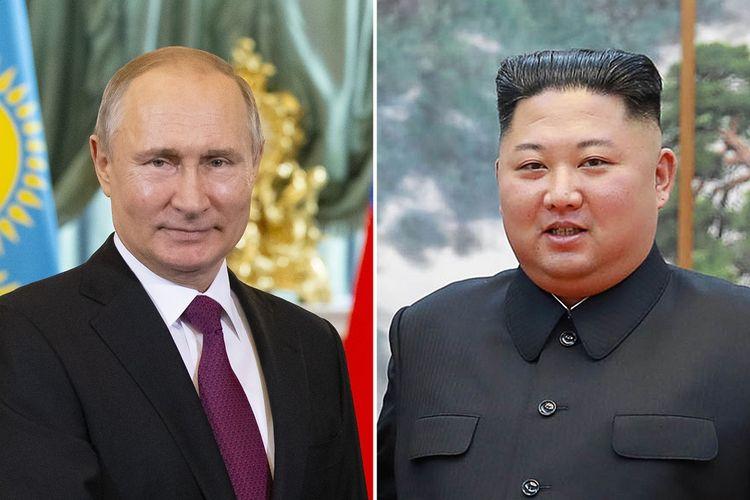 Presiden Rusia Vladimir Putin (kiri) dan Pemimpin Korea Utara Kim Jong Un.