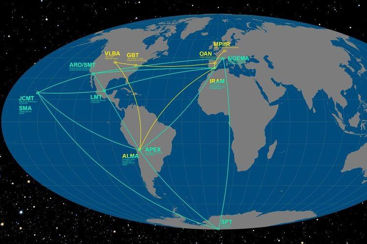 Jaringan teleskop Event Horizon di Bumi yang dipakai memotret Lubang Hitam (Black Hole) di alam semesta.