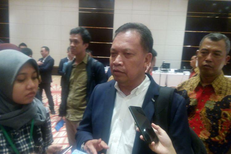 Ketua Umum Gabungan Pengusaha Kelapa Sawit Indonesia (GAPKI), Joko Supriyono memberi keterangan di Gedung Menara Astra, Jakarta, Senin (15/4/2019).