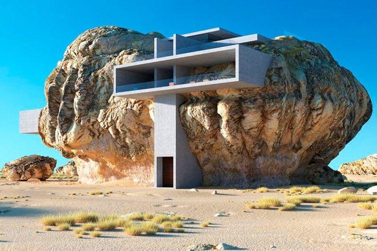 Konsep desain rumah di dalam batu karya Amey Kandalgaonkar