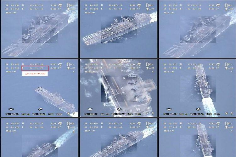 Kombinasi dari gambar yang dirilis oleh Garda Revolusi Iran pada 19 Juli 2019 dari drone memperlihatkan kapal perang Amerika Serikat antara lain kapal perusak USS Boxer. Gambar itu merupakan bantahan setelah Presiden AS Donald Trump mengklaim Boxer menghancurkan drone Iran di Selat Hormuz.