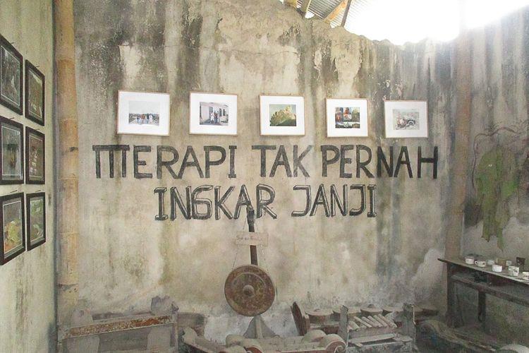 Tulisan Merapi Tak PErnah Ingkar Janji di Museum Sisa Hartaku