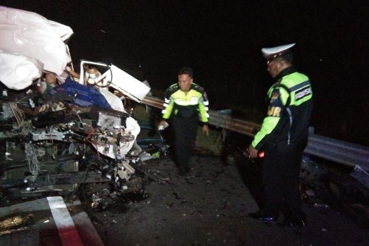 Lokasi kejadian kecelakaan minibus vs tronton di Tol Madiun-Nganjuk, Jumat (26/4/2019) dinihari