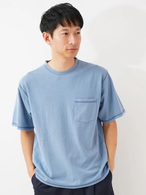 Three punch needle stitch pigment T-shirt /koe