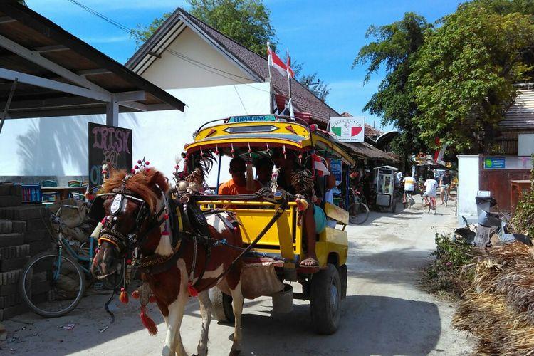 Cidomo, salah satu alat transportasi di Gili Trawangan.